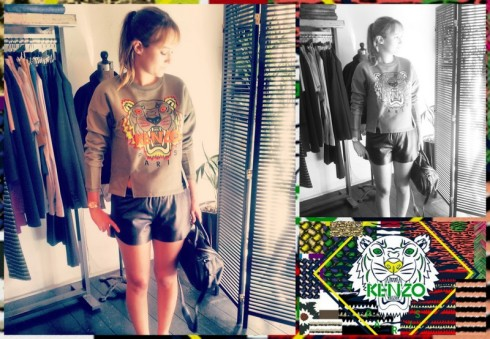 Leslie is wearing a Kenzo sweater and a Clover Canyon short. Bag by Alexander Wang
