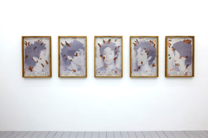 Susan Hiller Midnight, Miami, 1985 set of 5 C-type prints with feathers. Courtesy of MotInternational Gallery