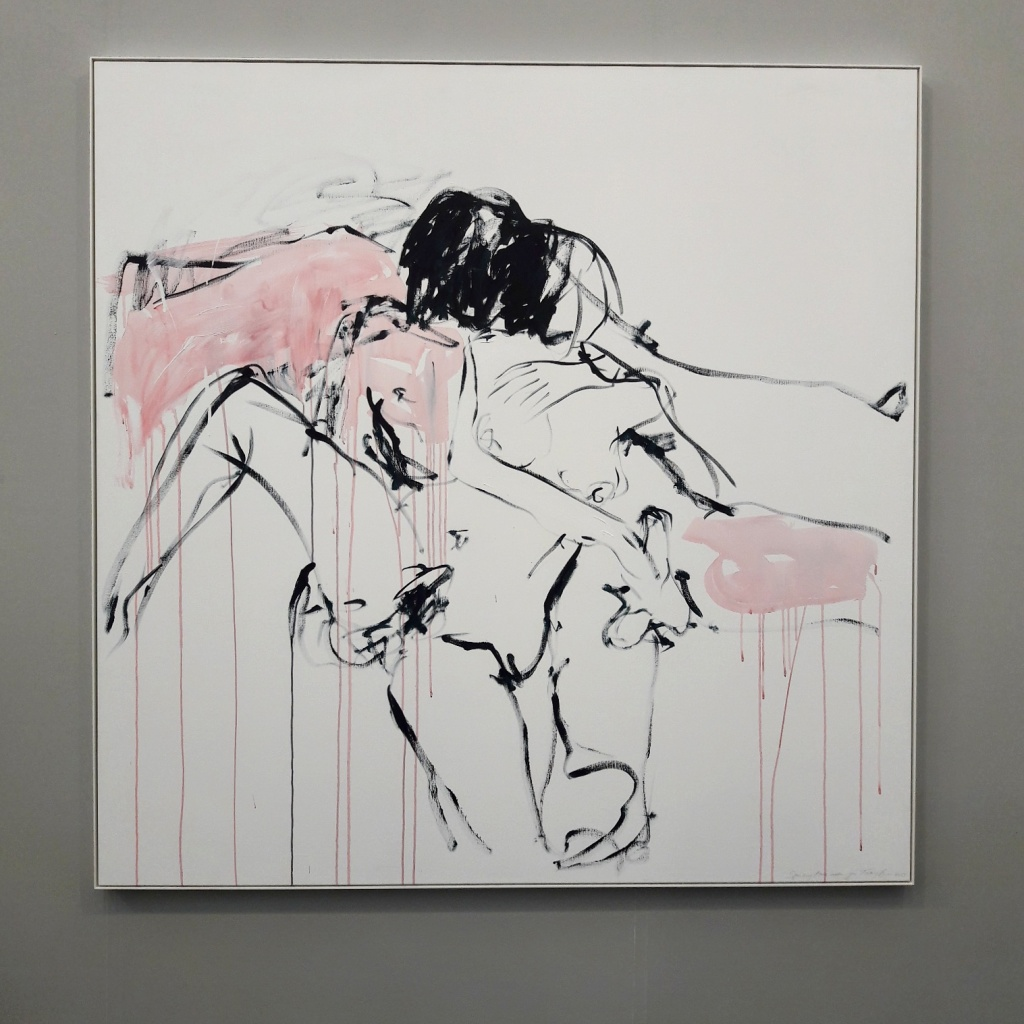 Tracey Emin at White Cube's booth.